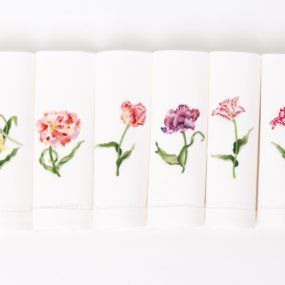 hand embroidered tulip napkins