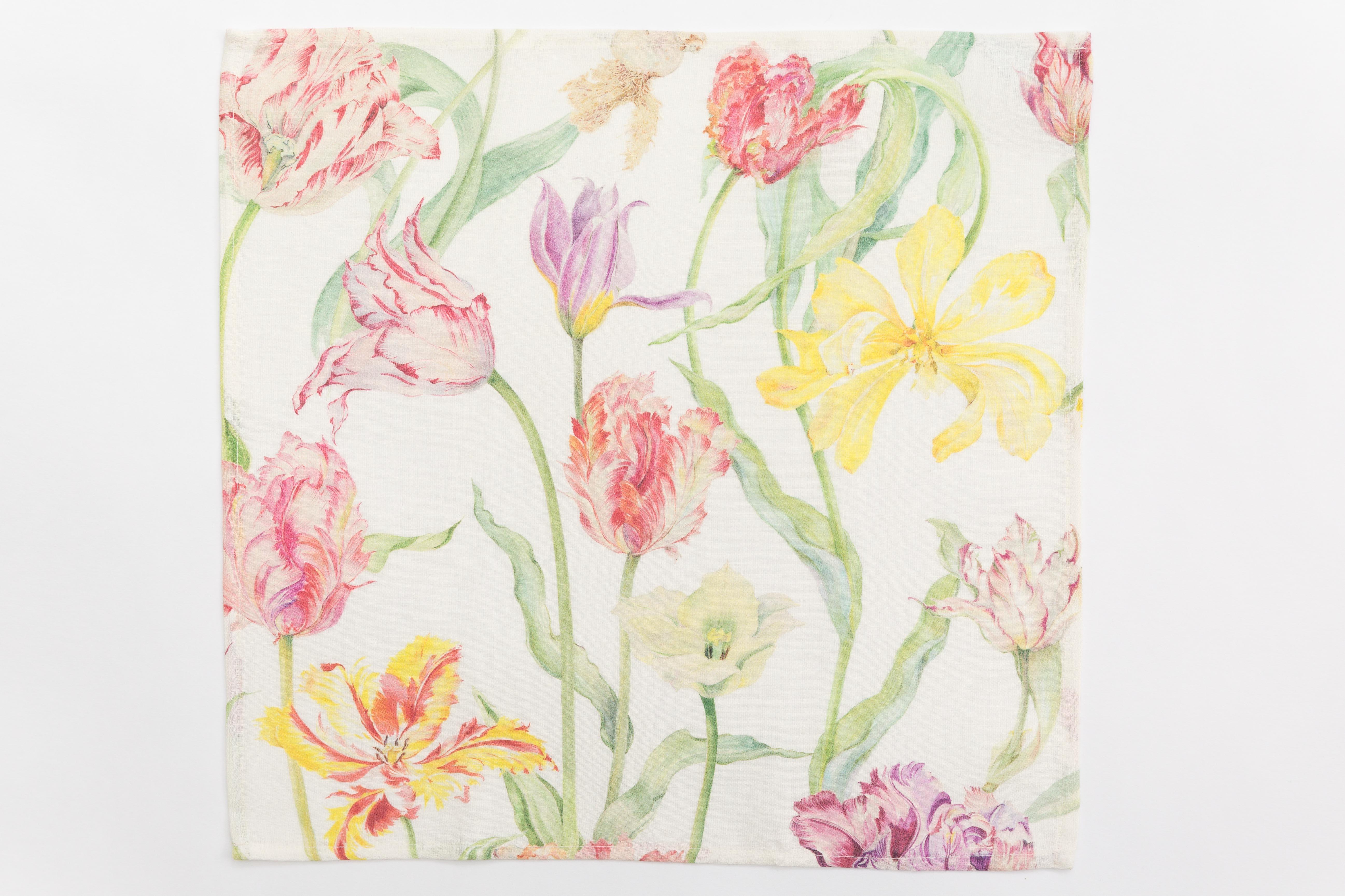 Printed tulipfield linen napkin / guesttowel