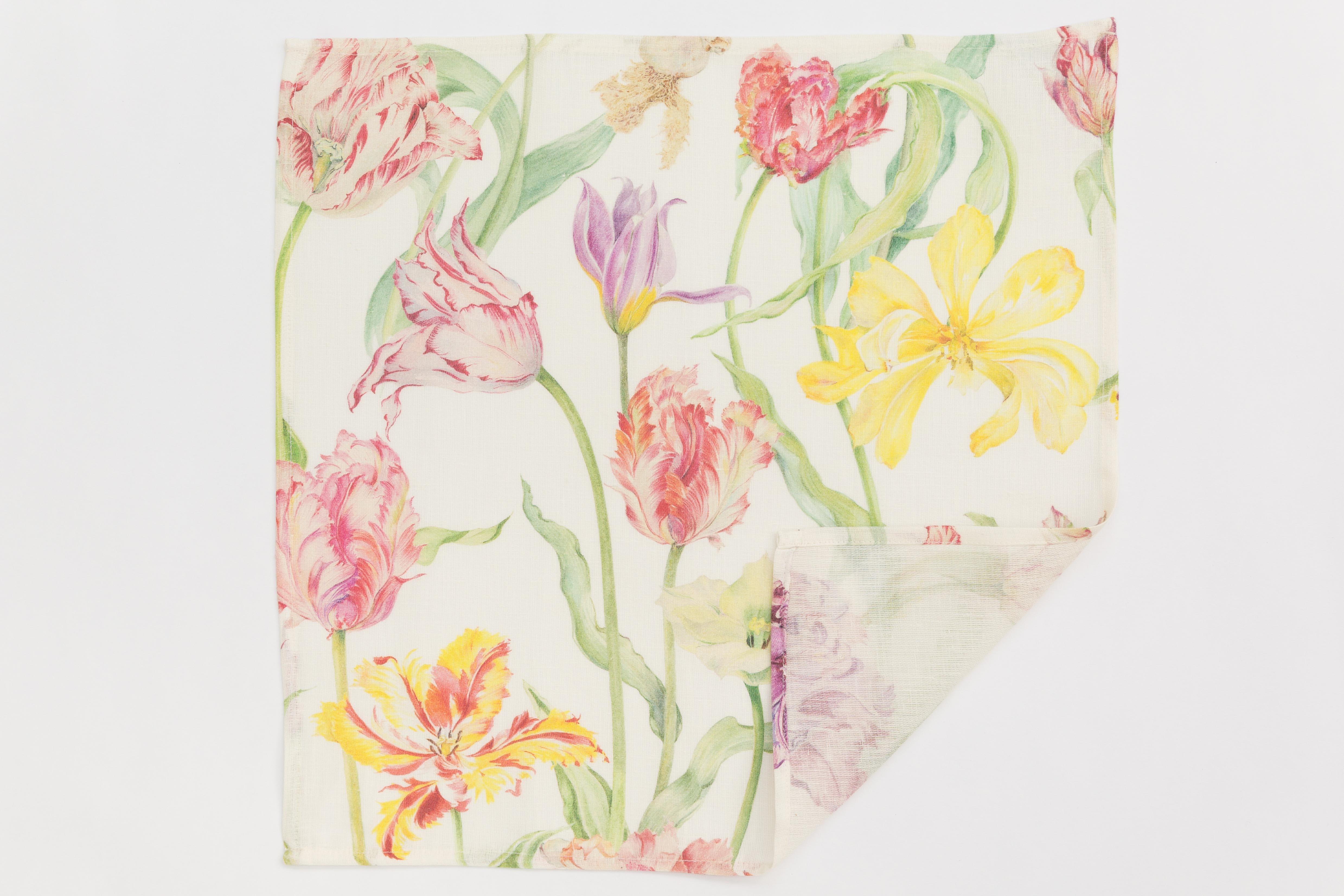 Printed tulipfield  linen napkin/guest towel