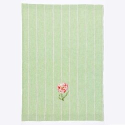 green teatowel embroidered